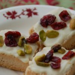 Shortbread with white chocolate pistachios and cranberries