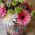Flowers with easter eggs
