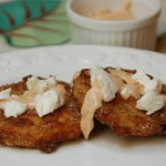 Fried Green Tomatoes with goat cheese and remolade sauce